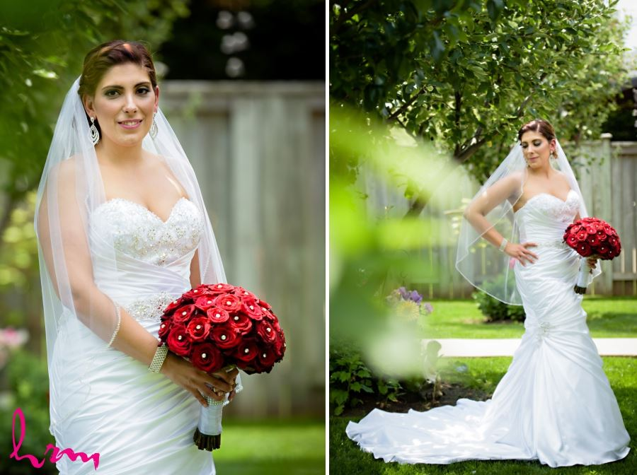 bride with bouquet outside
