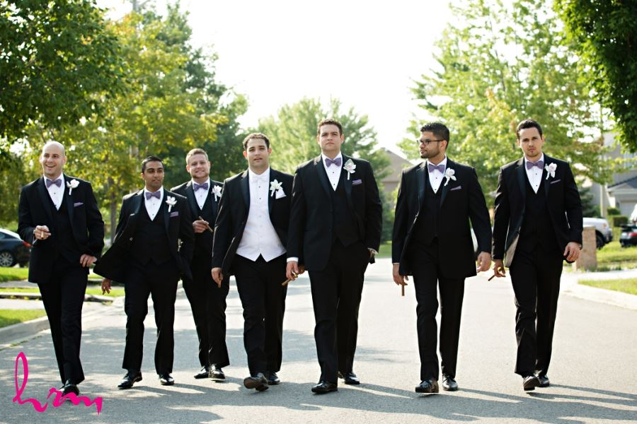 Groomsmen purple bowties