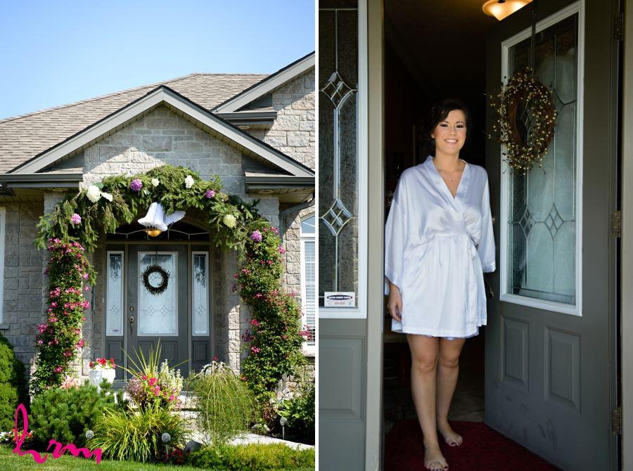 floral flower archway over bride's home door