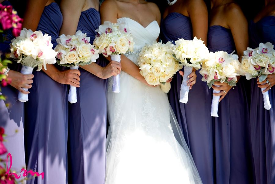 bridal and bridesmaids bouquets orchids roses
