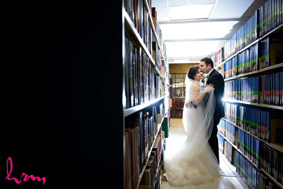 bride in groom in library western university