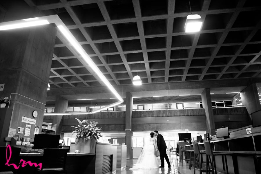 bride and groom in weldon library western university london ontario