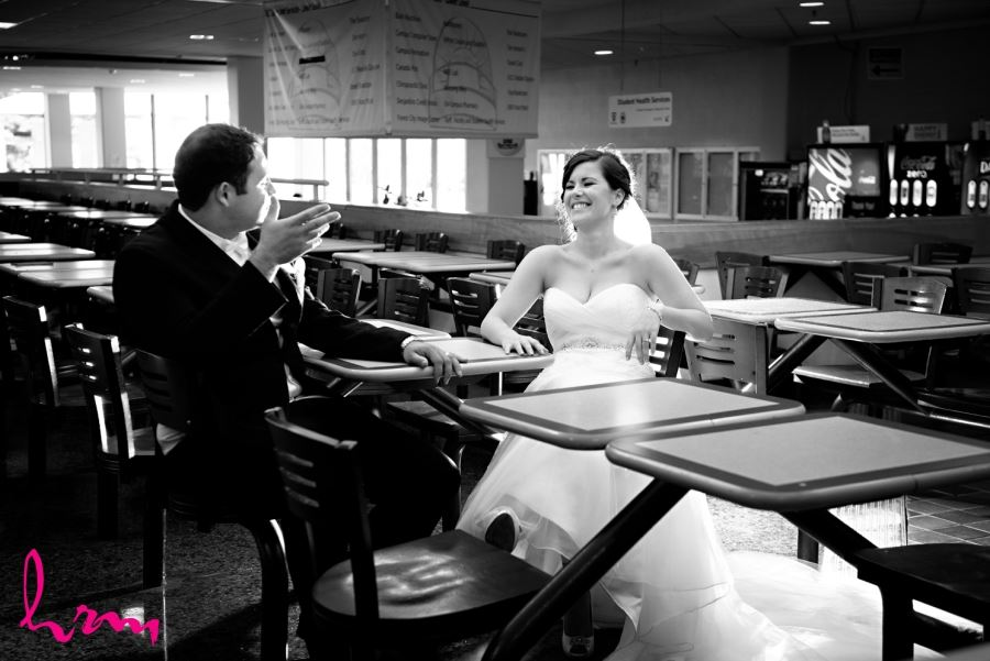 bride and groom wedding day ucc cafeteria western university london