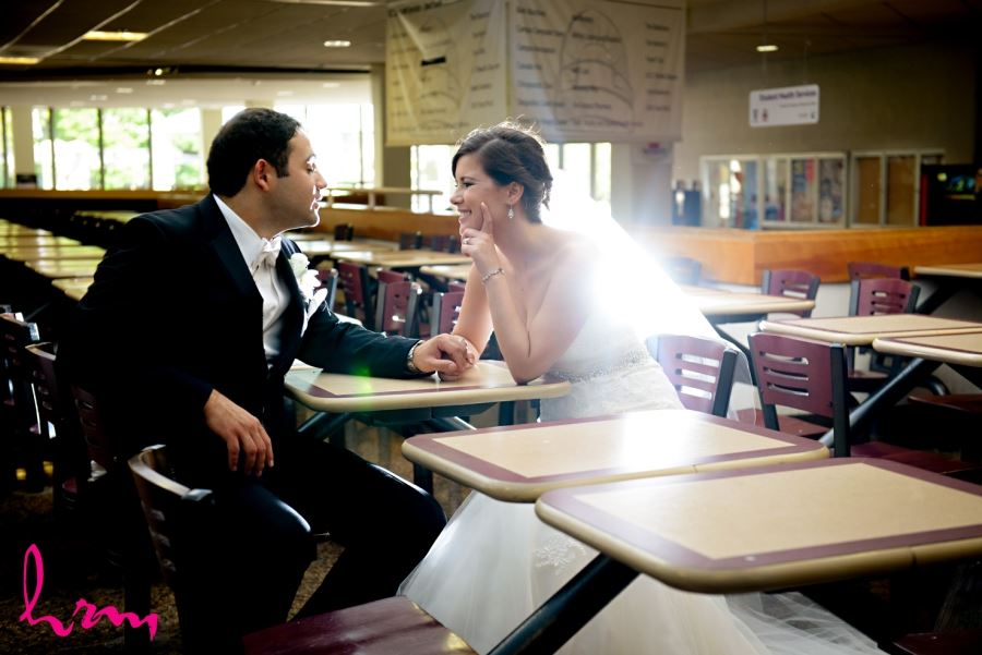 bride and groom wedding day in ucc western university london ontario