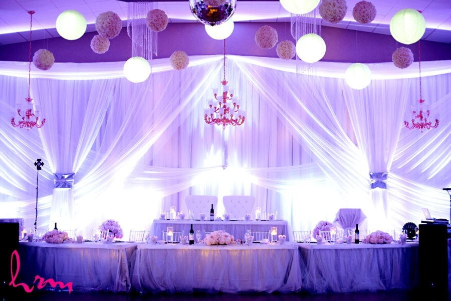 wedding decor inspiration head table with hanging lanterns and chandeliers
