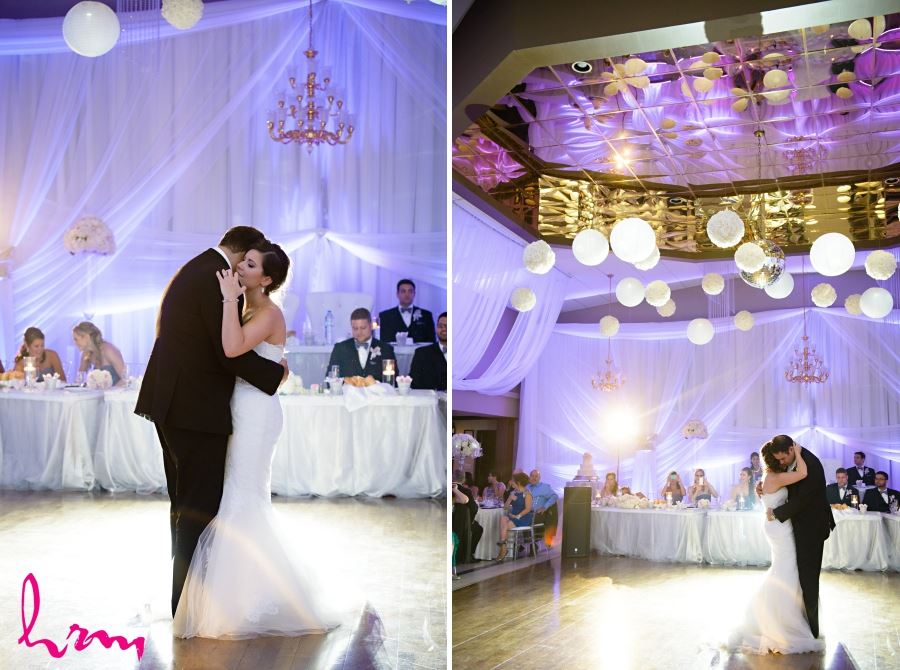 bride and groom first dance shot portuguese club of london ontario wedding
