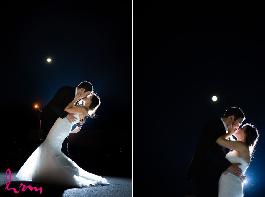 bride and groom wedding day outdoor shot nighttime with moon