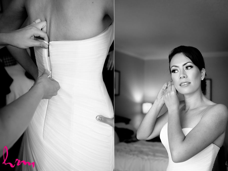 Black and white photo of Geneviève getting in to dress  London ON Wedding Photography