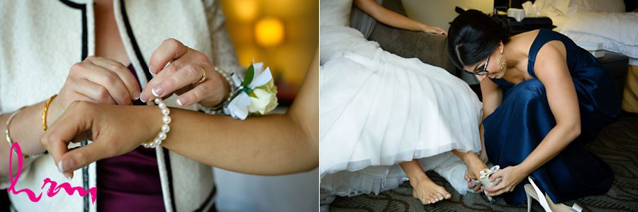 Geneviève putting on bracelet London ON Wedding HRM Photography