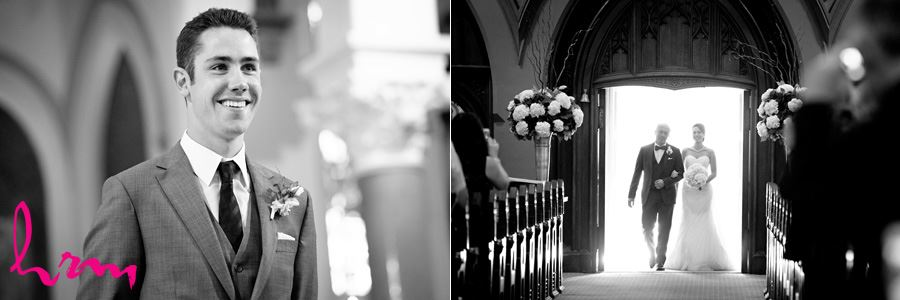 The first look in black and white St. Peter's Cathedral London ON Wedding Photography