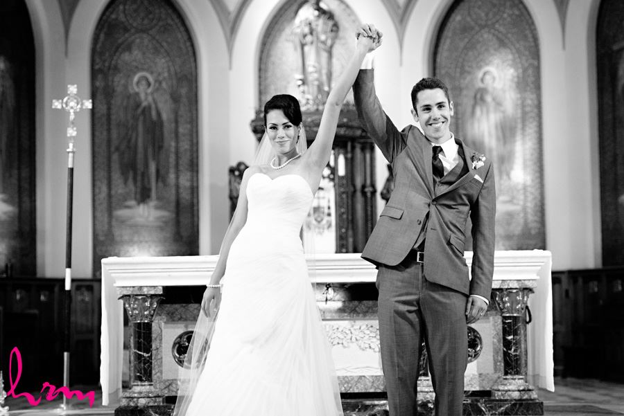 Celebrating after the ceremony at St. Peter's Cathedral London ON Wedding Photography