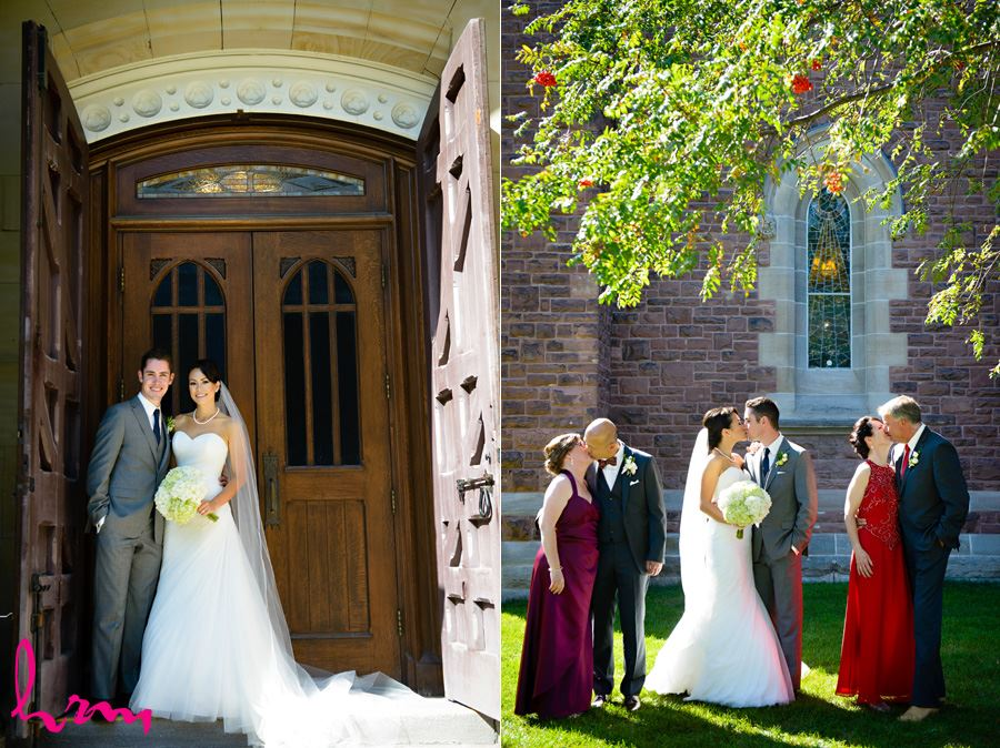 Geneviève + Will kissing outside St. Peter's Cathedral London ON Wedding Photography