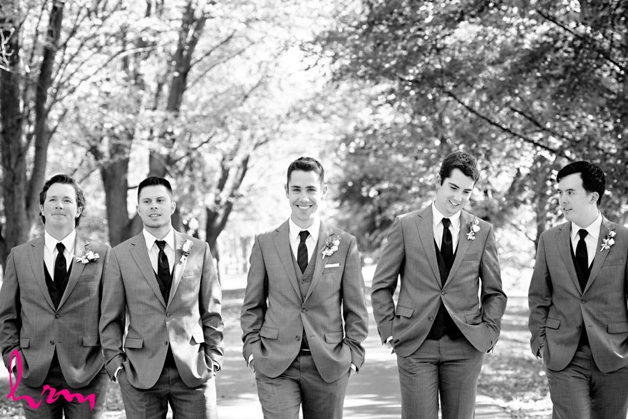 Black and white Groomsmen outside St. Peter's Cathedral London ON Wedding Photography
