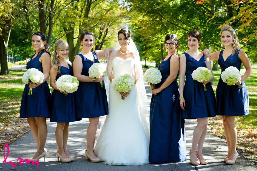 Geneviève and bridesmaids outside St. Peter's Cathedral London ON Wedding Photography