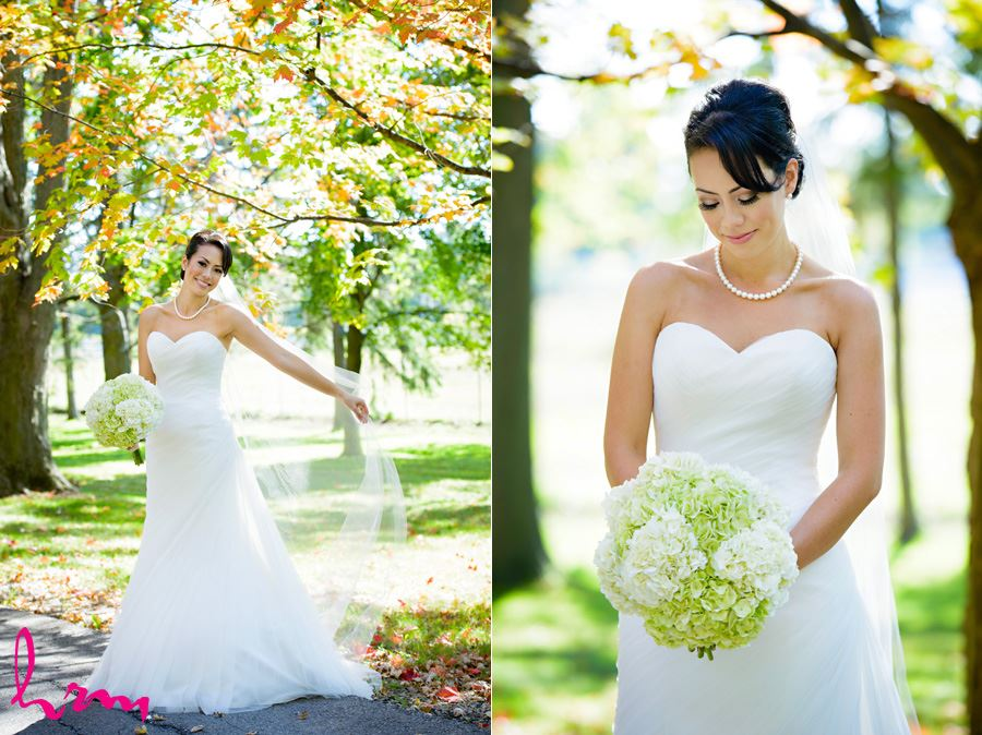 Photos of Geneviève outside St. Peter's Cathedral London ON Wedding Photography