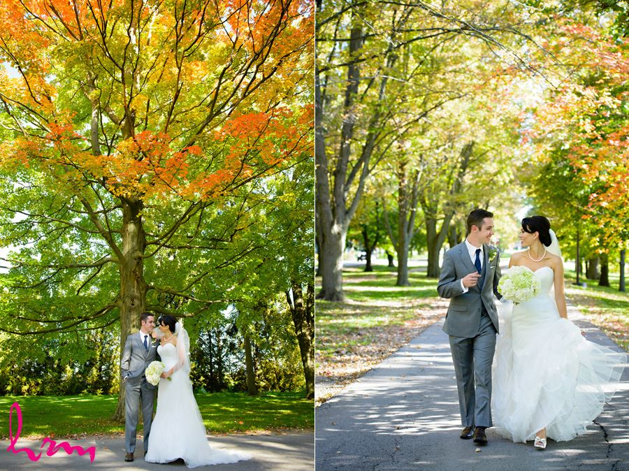 Geneviève and Will walk in trees London ON Wedding HRM Photography