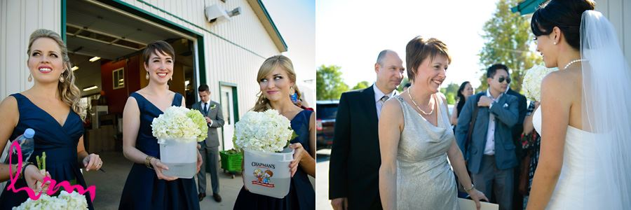 Greeting guests at Heeman Greenhouses London ON Wedding HRM Photography