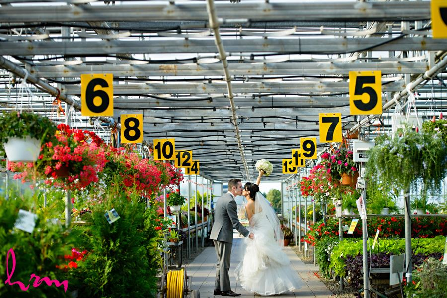 Geneviève + Will kiss in Heeman Greenhouses London ON Wedding Photography