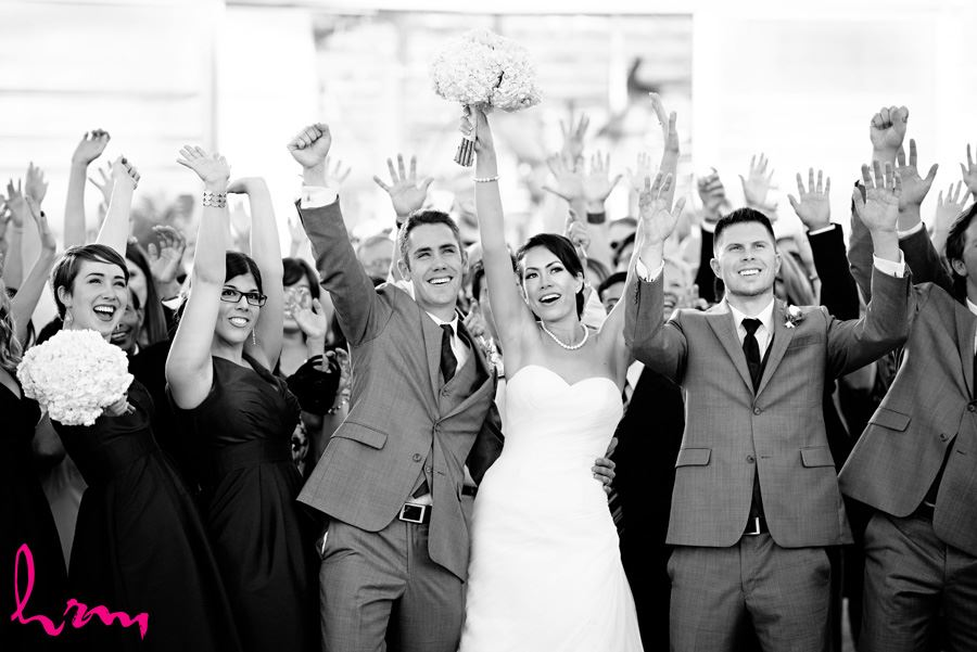 Black and white wedding guests Heeman Greenhouses London ON Wedding Photography