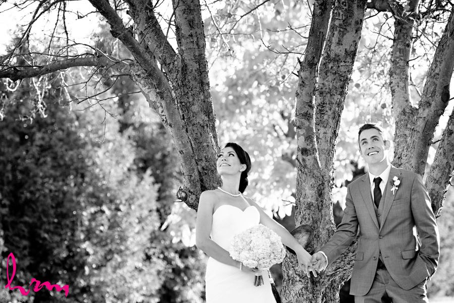 Black and white Geneviève + Will in orchard Heeman Greenhouses London ON Wedding HRM Photography