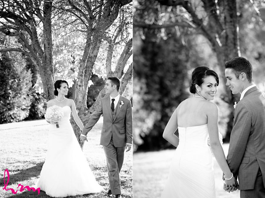 Black and white photos Geneviève + Will in orchard Heeman Greenhouses London ON Wedding HRM Photography