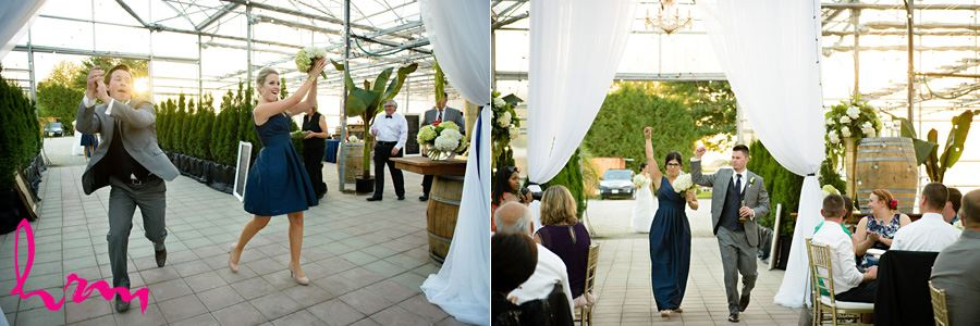 Photos of Bridal party entering reception at Heeman Greenhouses London ON Wedding Photography