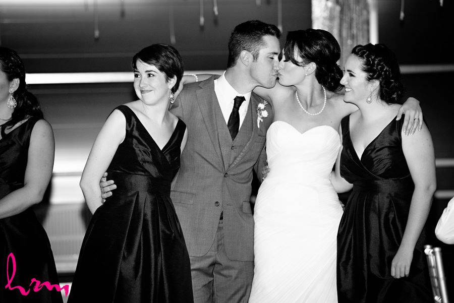 Geneviève and Will with groom's sisters Heeman Greenhouses London ON Wedding Photography