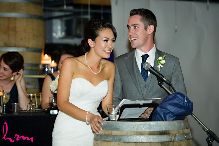 Geneviève and Will speech at Heeman Greenhouses London ON Wedding HRM Photography