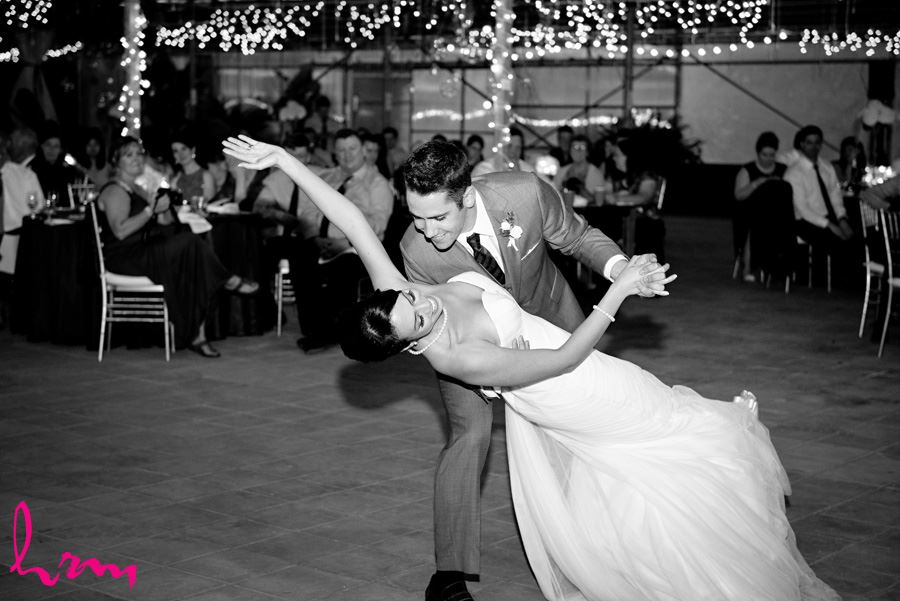 Black and white photo of first dance Heeman Greenhouses London ON Wedding Photography