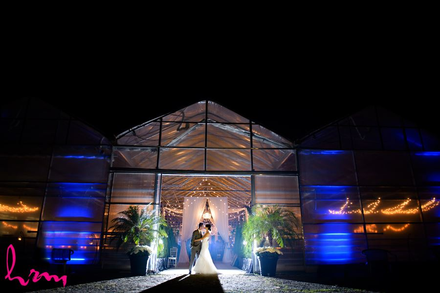 Geneviève and Will in moonlight at  Heeman Greenhouses London ON Wedding Photography