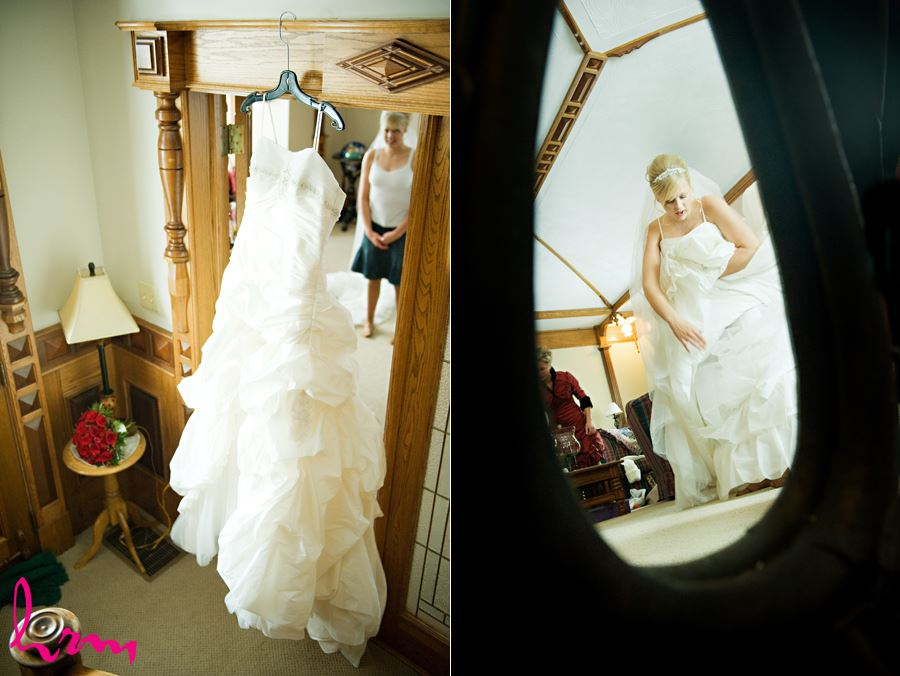 bride looking at dress and getting ready in ingersol ontario