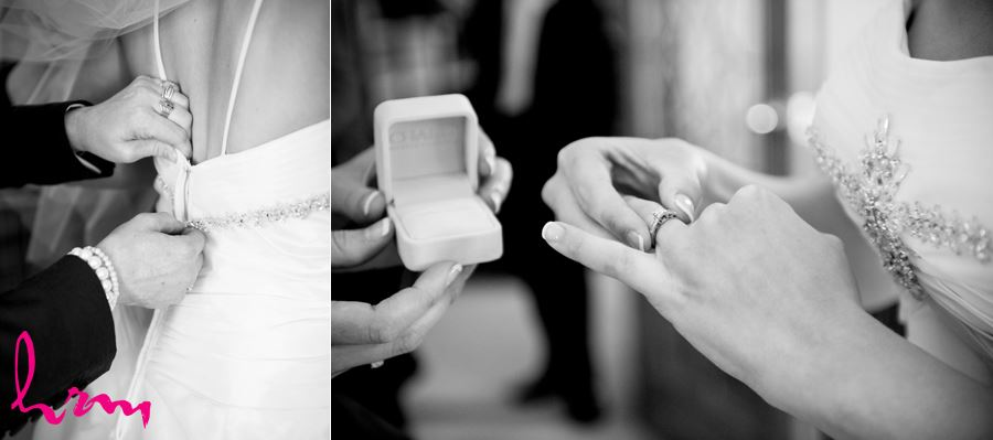 bride putting on engagement ring