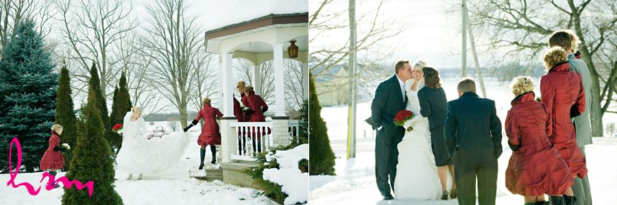 winter wedding family candids outside