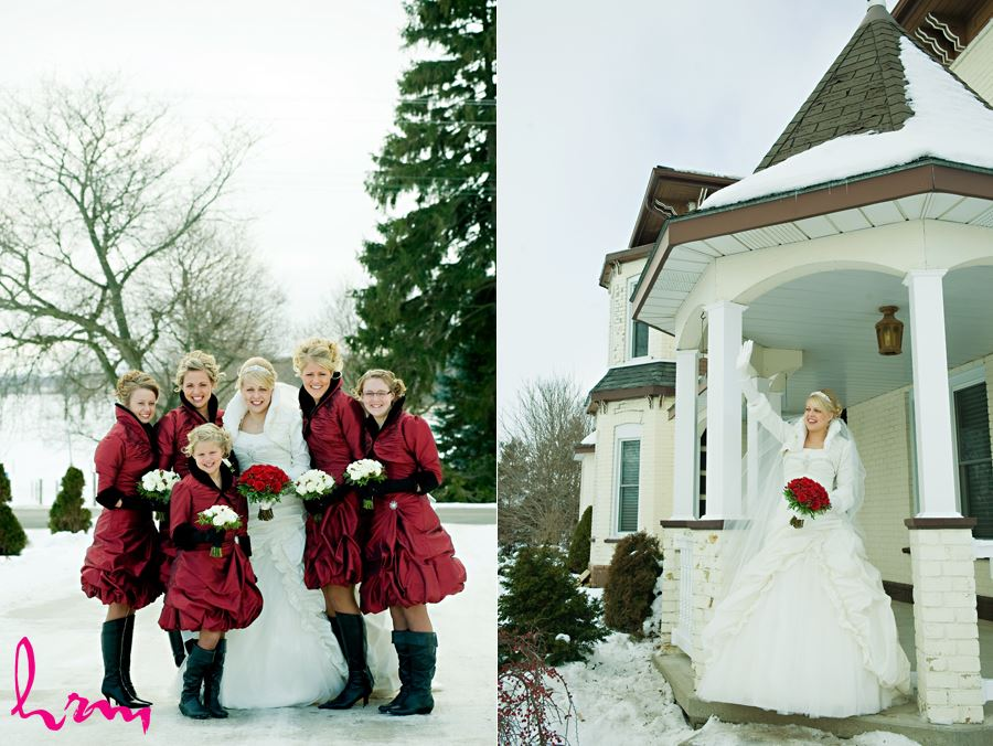 winter bridesmainds outside in ingersoll ontario