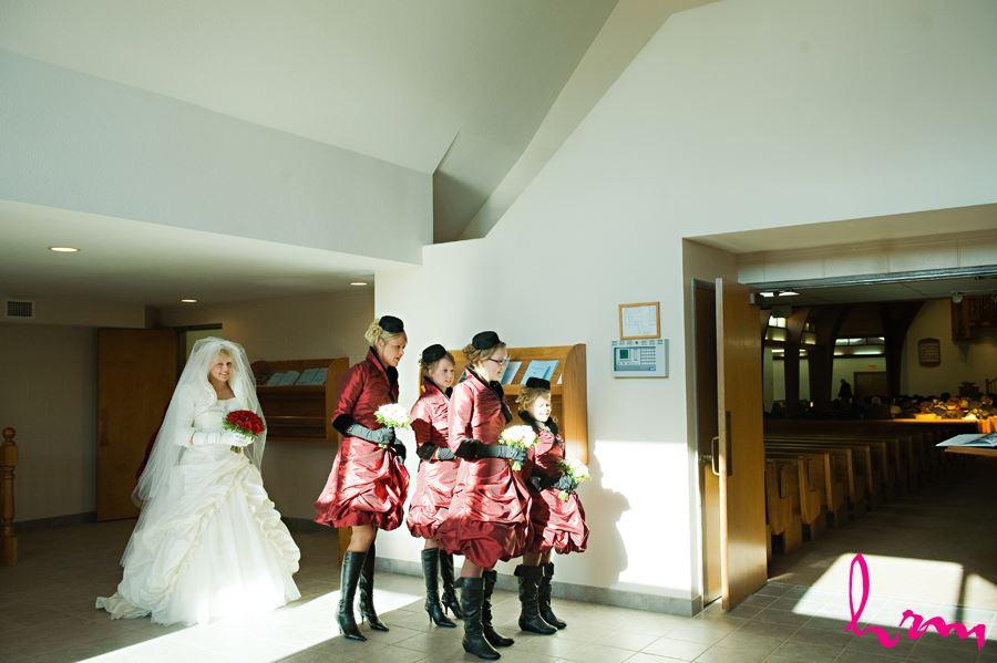 bride inside church ready to walking down aisle