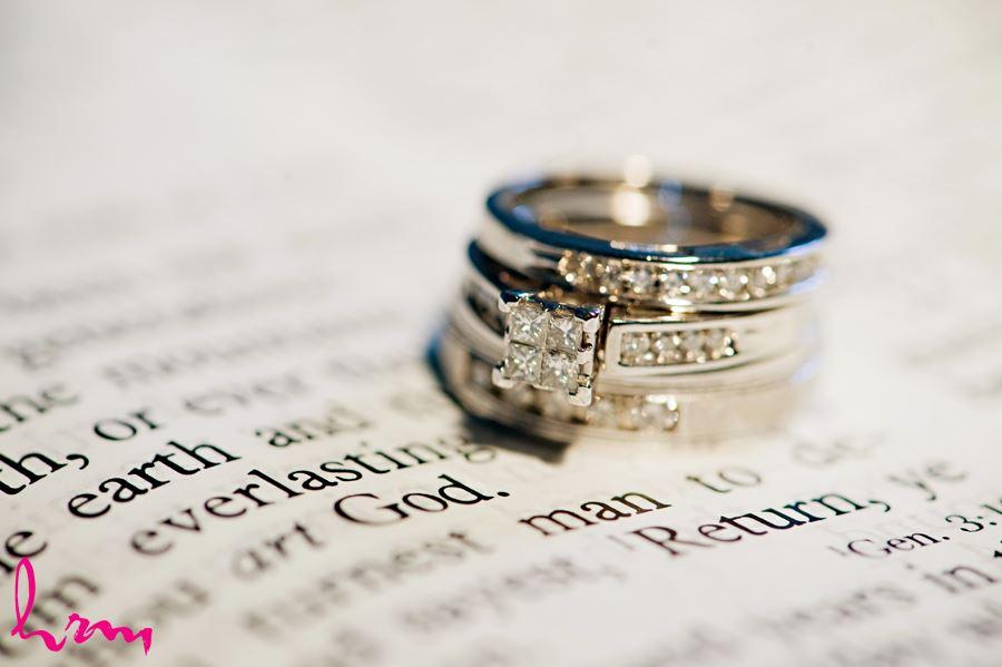 diamond wedding bands on bible