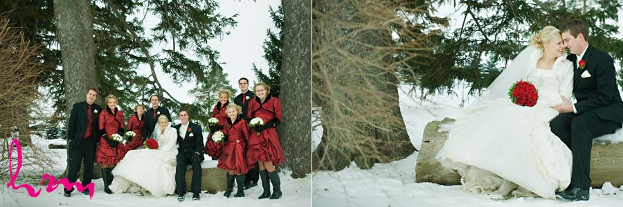 winter wedding party outside by trees in ingersoll ontario