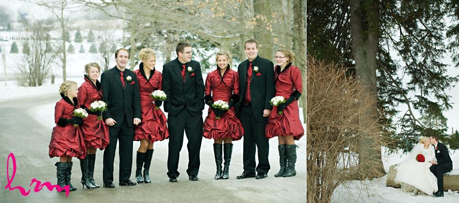 red and black wedding party outside in the snow