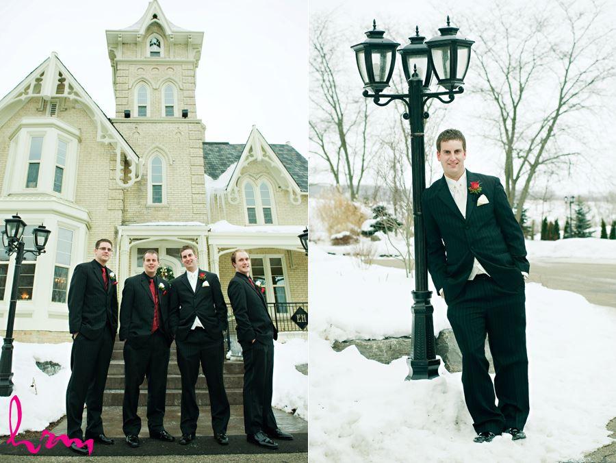 groomsmen outside in front of the elmhurst inn