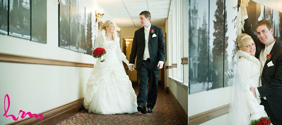bride and groom walking down hall at the elmhurst inn