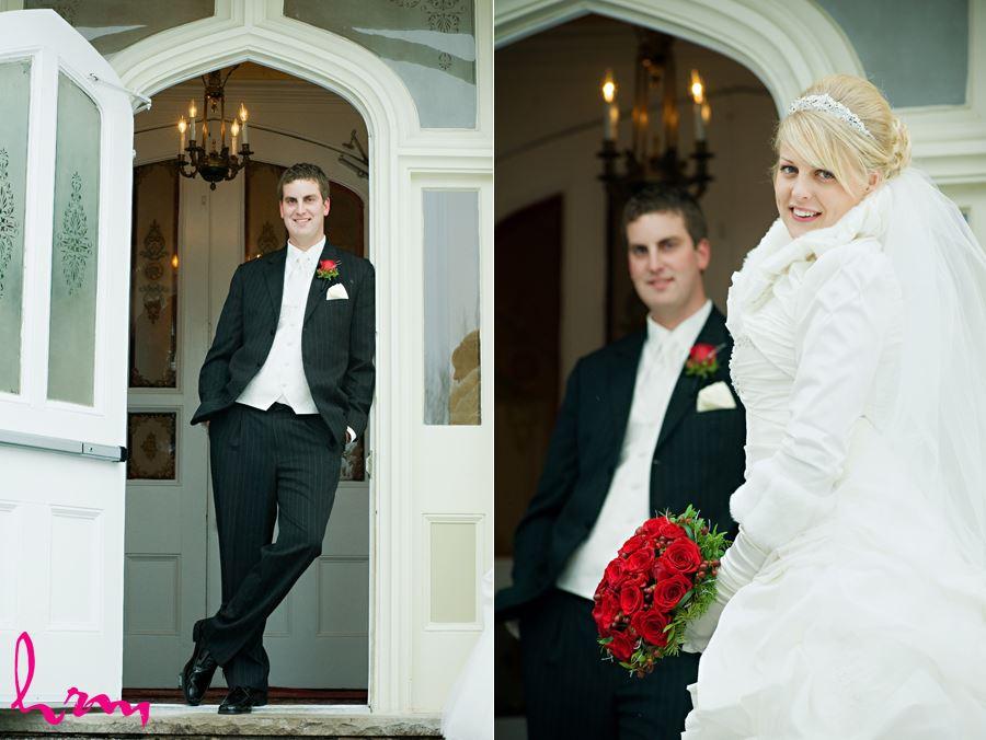 winter wedding couple outside the elmhurst inn