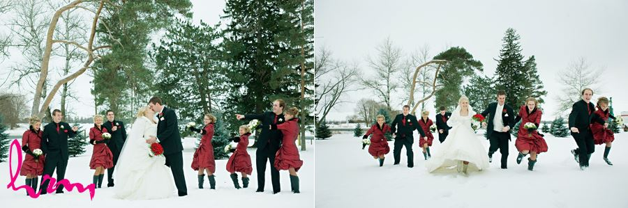 winter wedding party running in the snow