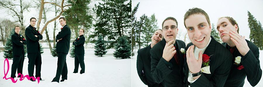 groomsmen in the snow outside in ingersoll