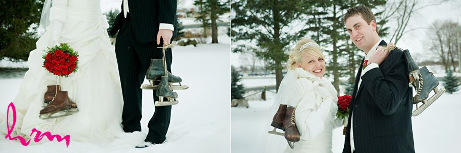 winter bride and groom with skates in the snow