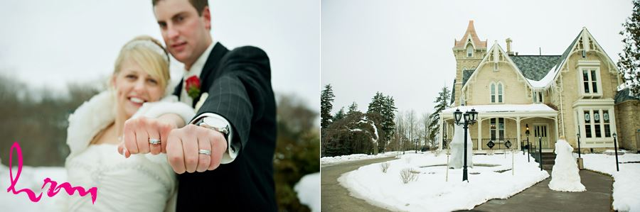 winter bride and groom walking into the elmhurst inn