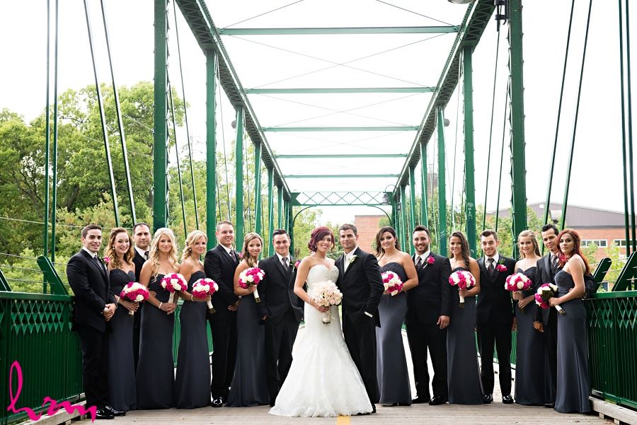 wedding party in black gray and fuschia pink