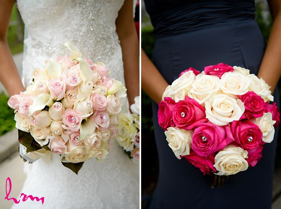 bridal bouquets with roses and crystal centres
