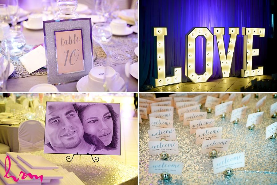 large love marquis letters on wedding day