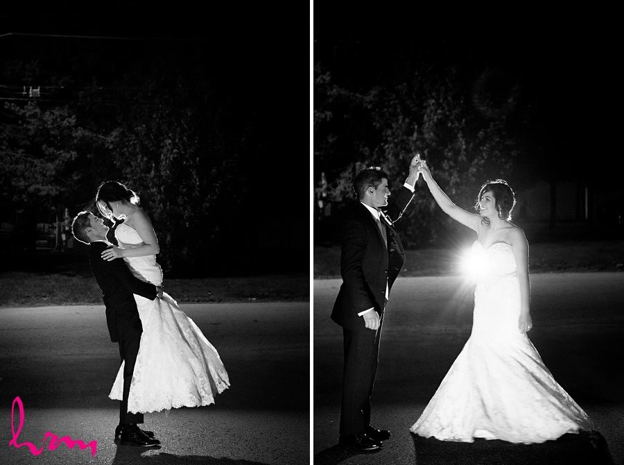 nighttime wedding photography bride and groom dancing outside