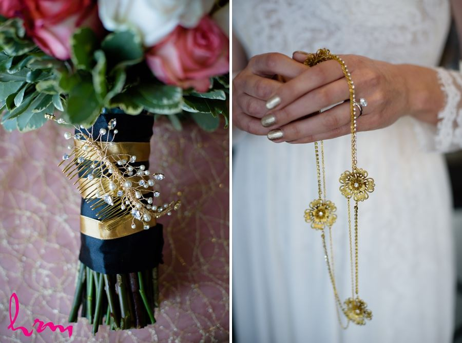 gold bridal headpiece with flowers